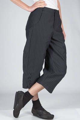 trousers in cotton canvas, modal, linen and mulberry silk with vertical stripes and braided metallic thread - RENLI SU