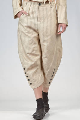 trousers in cotton canvas, modal, linen and mulberry silk with vertical stripes and braided metallic thread  - 359