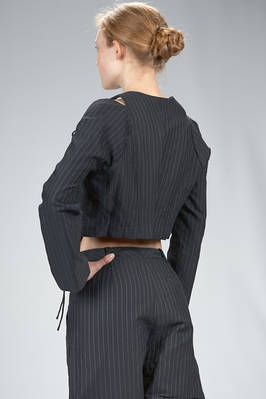 spencer short jacket in cotton canvas, modal, linen and mulberry silk with vertical stripes and braided metallic thread - RENLI SU