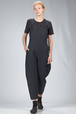 dungaree in cotton canvas, modal, linen and mulberry silk with vertical stripes and braided metallic thread  - 359