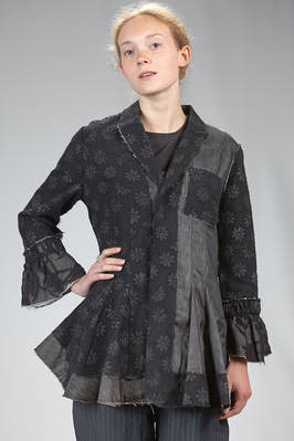 long and waisted jacket made of blocks of different fabrics: floral damask of wool, linen and silk gauze on a cotton-lined base  - 359