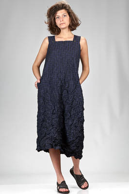 under the knee wide dress in bicolour polyester froissé vichy and shawl in tone on tone rayon and polyester vichy  - 123
