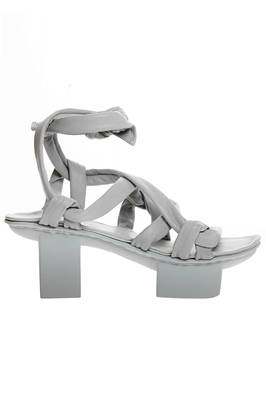 ACROBAT sandal with tubular braded straps in cowhide leather and high 'Japanese' heel  - 51