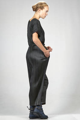 dungaree trousers polyester and cotton plissé with vertical narrow pleats and bicolour white stripes - PLEATS PLEASE Issey Miyake