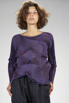 hip length 'sculpture' sweater in multicolor striped polyester and polyurethane plissé with three-dimensional 'fractal' waves  - 47