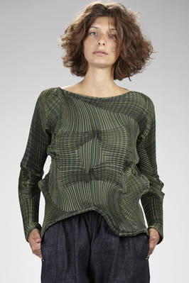 hip length 'sculpture' sweater in multicolor striped polyester and polyurethane plissé with three-dimensional 'fractal' waves - ISSEY MIYAKE