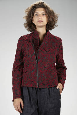 hip length biker-style jacket in nylon, polyester and polyurethane stretch fabric with wrinkled 'empty and full' textures in a two tone diamond pattern  - 47
