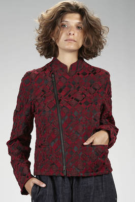 hip length biker-style jacket in nylon, polyester and polyurethane stretch fabric with wrinkled 'empty and full' textures in a two tone diamond pattern - ISSEY MIYAKE