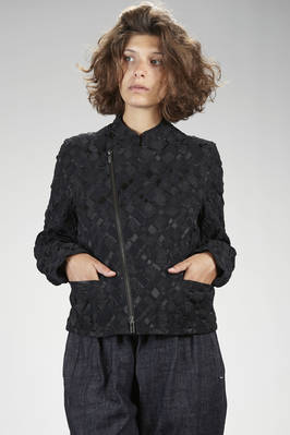 hip length biker-style jacket in nylon, polyester and polyurethane stretch fabric with wrinkled 'empty and full' textures in a tone-on-tone diamond pattern - ISSEY MIYAKE