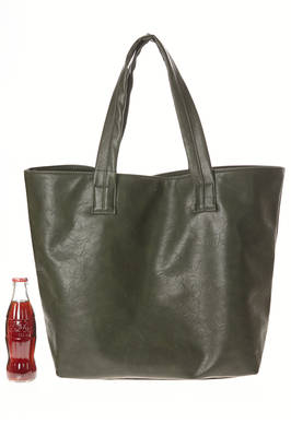 large bag in slightly wrinkled and faded polyester leather  - 121