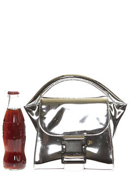 small top case bag in silver synthetic leather  - 121