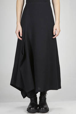 long, wide and asymmetrical divided skirt in wool twill, cupro lined  - 97