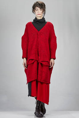 oversized knee length cardigan in heavy knit of wool, mohair and nylon  - 97