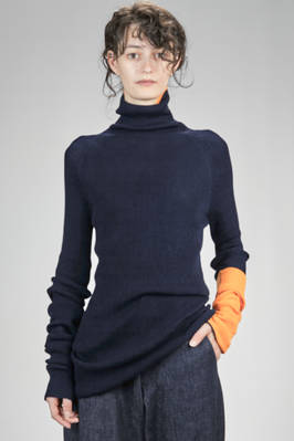 long knitted turtle neck with dry hand narrow ribs of wool and contrasting colour borders  - 97