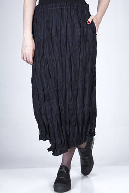 longuette skirt in wrinkled pinstripe fabric of wool and polyester with wide vertical pleating  - 327