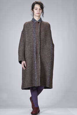 long and wide coat in double knit of wool, polyamide, mohair, yack, viscose and polyester with tweed effect  - 227