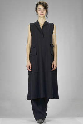 longuette dress in wool, cotton, polyamide, cashmere and yak knit with shaded pinstriped-effect  - 227