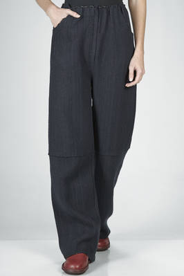 wide trousers in wool, cotton, polyamide, cashmere and yak knit with pinstripe effect  - 227