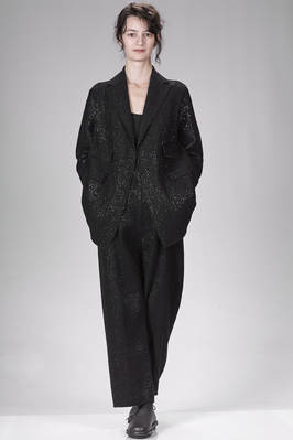 long and wide jacket in raffia-effect knitted cotton, polyamide, wool, viscose and textile paper  - 227
