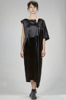 longuette asymmetrical dress in hand soft smooth rayon and silk velvet  - 48