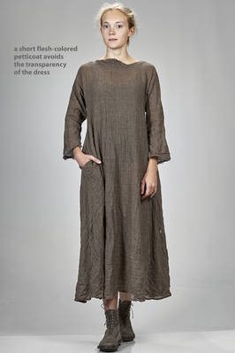 longuette dress, in washed and wrinkled wool gauze  - 195