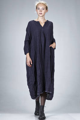 wide longuette dress in embossed and washed wool and linen crêpe  - 195