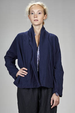 wide hip length jacket in washed wool canvas  - 195