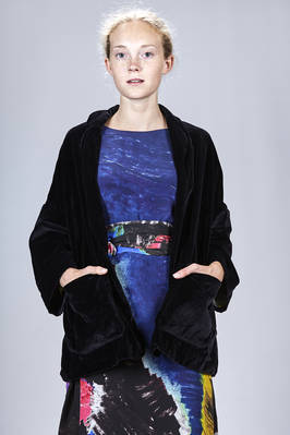wide hip length pea coat in smooth washed cotton velvet  - 195