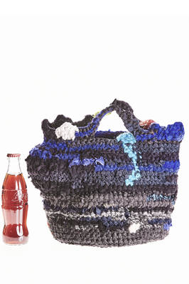 small bucket shaped crocheted bag in multicolored wool and cotton tightly woven knit  - 195
