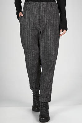 soft trousers in linen, wool, silk and nylon pinstripe with shantung effect  - 161
