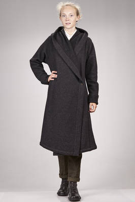 long and waisted coat in alpaca and stretch melange new wool knitting  - 161