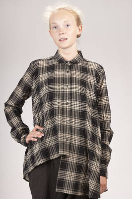 wide and asymmetrical shirt in washed new wool, cotton and polyamide checked gauze  - 161