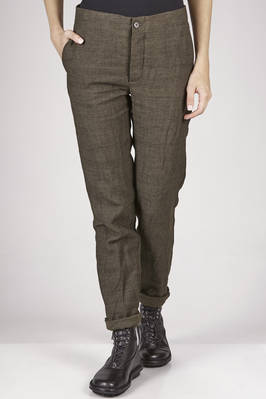 slim fitted trousers in  micro checked linen, wool and melange cotton canvas with washed matting effect  - 161