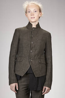 hip length jacket in micro checked linen, wool and melange cotton canvas with washed matting effect, cotton and polyester lined  - 161
