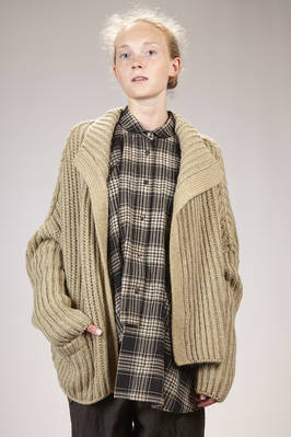 wide hip length cardigan in new wool, mohair and melange polyamide knitting  - 161