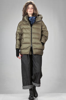above the knee padded jacket in nylon canvas, padded with Italian down feather  - 355