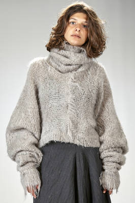 short sweater in wide knit of mohair, wool and polyamide  - 163