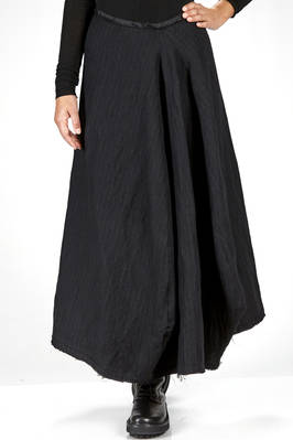 wide and long skirt in washed pinstripe of wool, cotton and metal  - 163