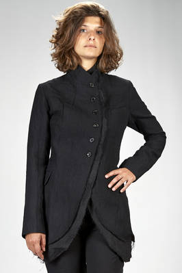 long and slim fitted jacket in washed pinstripe of wool, cotton and metal  - 163