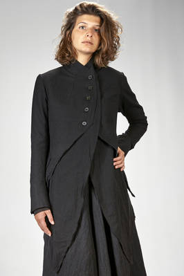 slim fitted jacket in washed wool flannel on a wool and polyamide gauze base  - 163