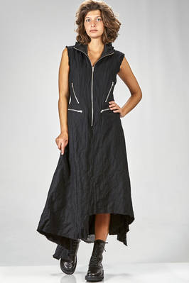 long and waisted dress in washed flannel of wool, cotton and metal slightly shinny  - 163