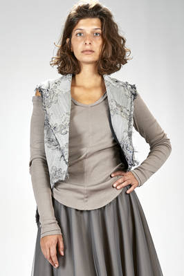 'haute couture' gilet in wool, polyester and silk jacquard with floral print slightly shinny  - 163