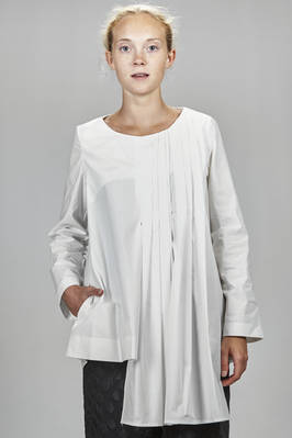 long and asymmetrical shirt in washed cotton poplin  - 364