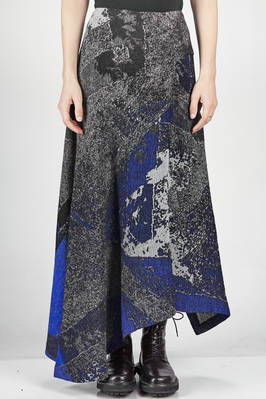longuette and asymmetrical skirt in woollen jacquard with worn fabric effect  - 97
