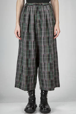 wide trousers, above the ankle in woollen and cotton tartar, irregular and multicolour  - 97