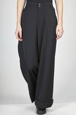 large and straight leg trousers in wool gabardine  - 73