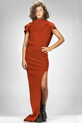 long and slim fitted evening dress in viscose, polyester, polyamide and elastane stretch knit  - 120