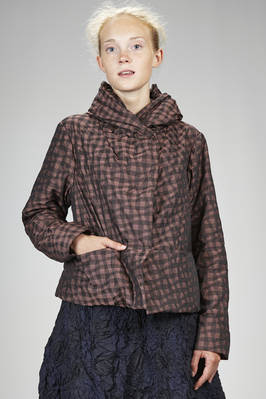 hip length blouson in polyester canvas padded in polyester with tone on tone vichy pattern  - 123
