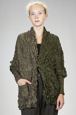 long jacket in polyester froissé with two vertical blocks of two different shades  - 123