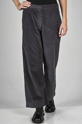 wide trousers in washed cotton velvet with vertical ribs  - 366